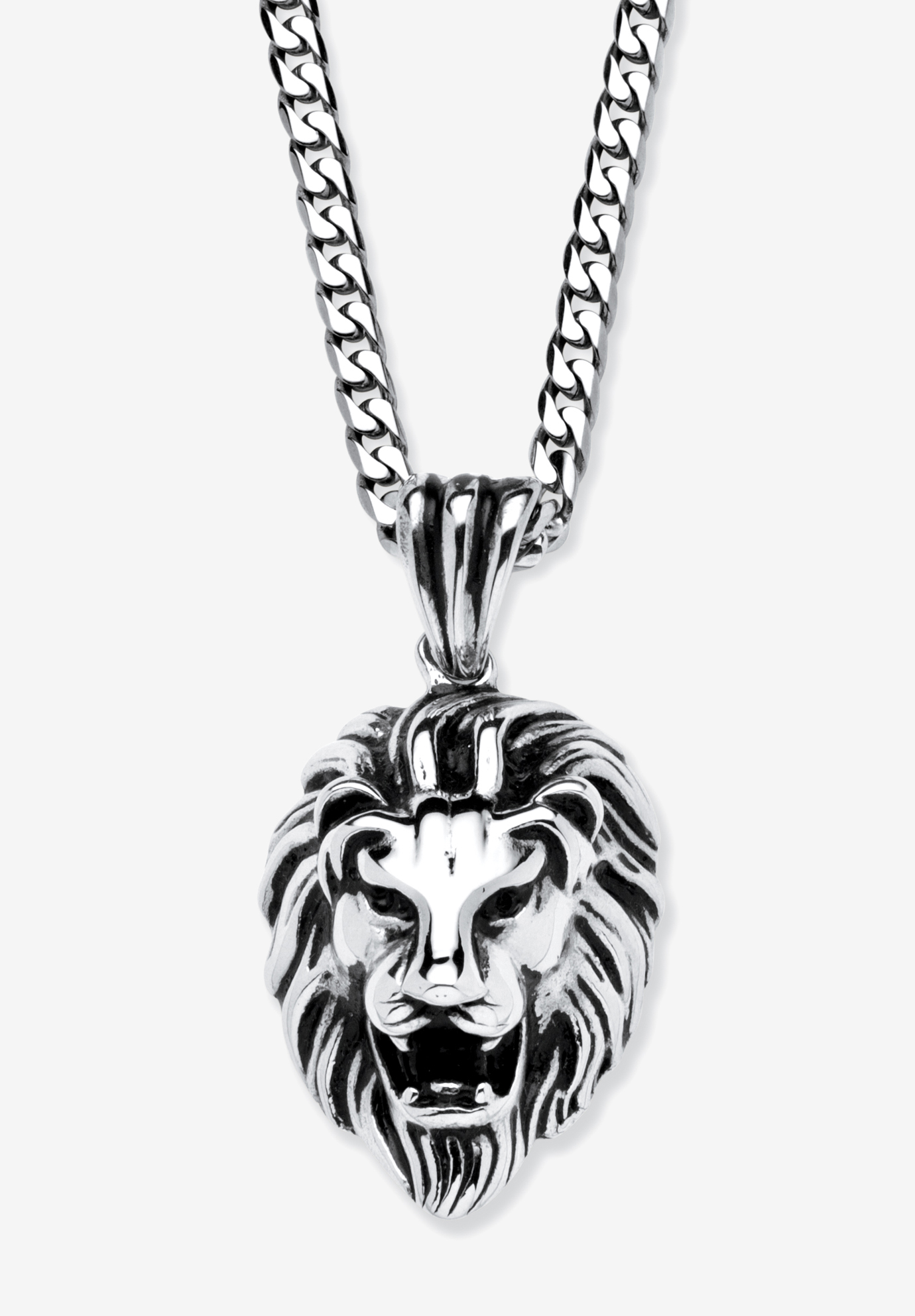 Lion's Head Pendant Necklace , STAINLESS STEEL
