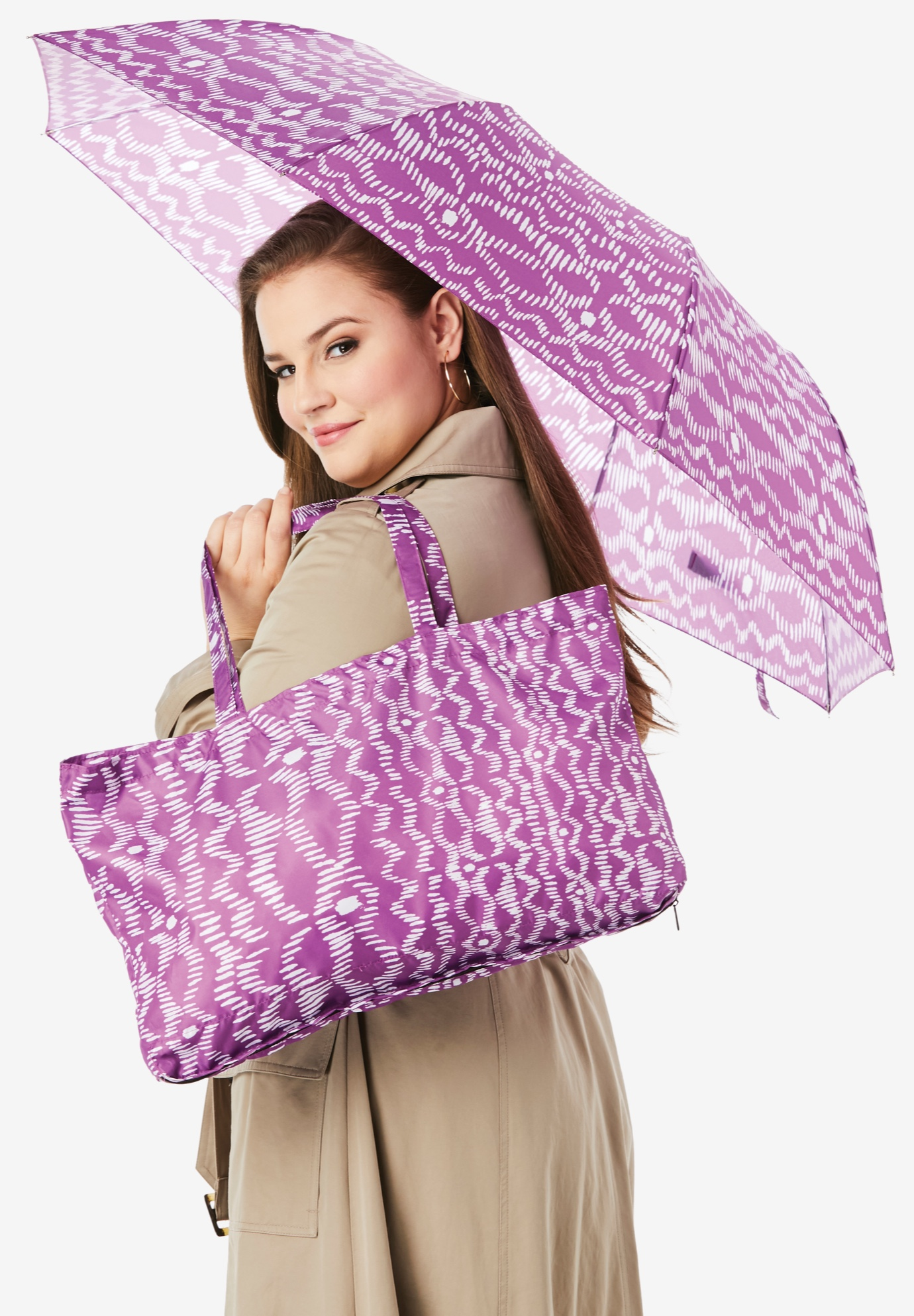 Umbrella And Tote Set, PURPLE MAGENTA TRIBAL
