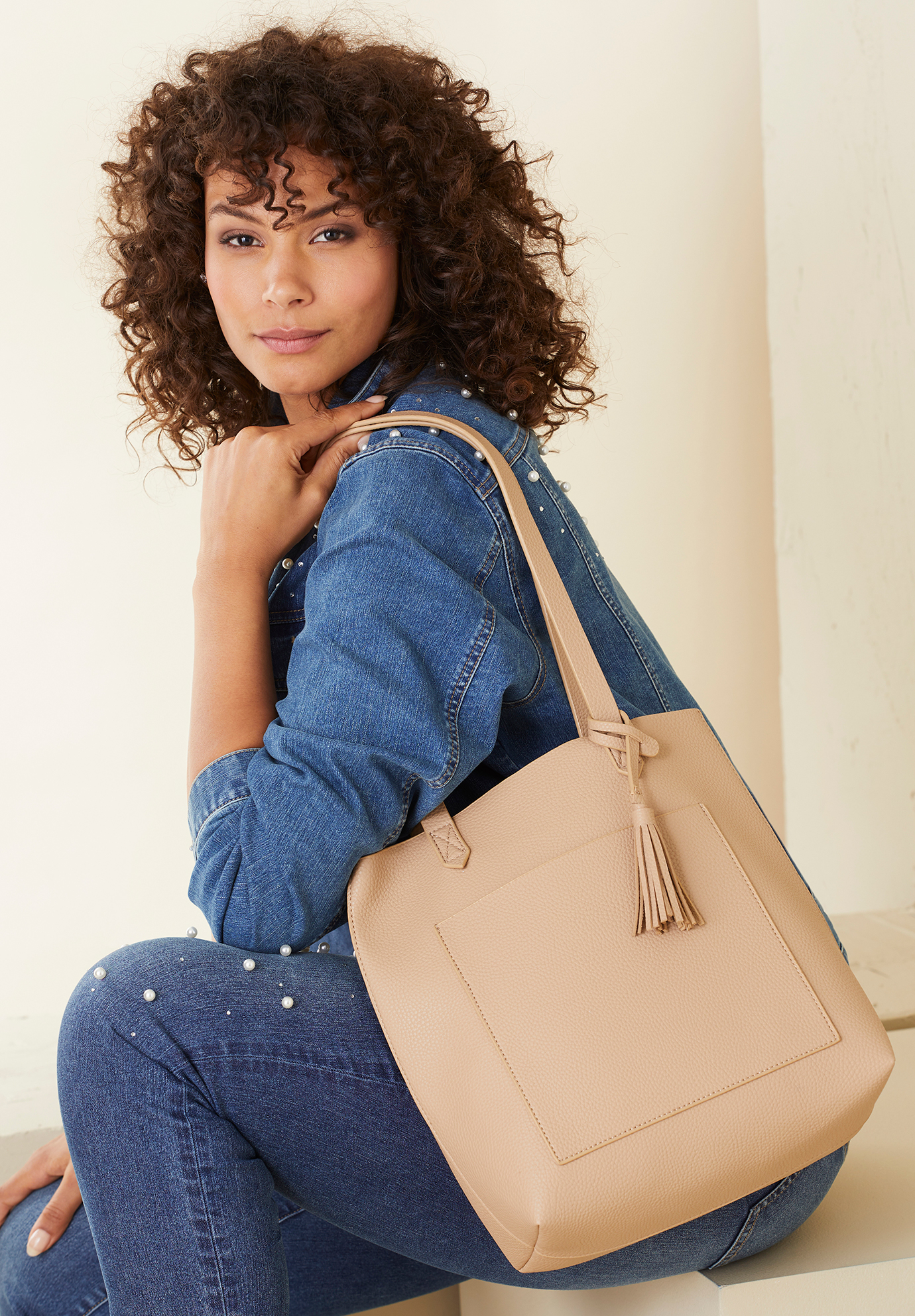 Shopper Tote Bag, BEIGE