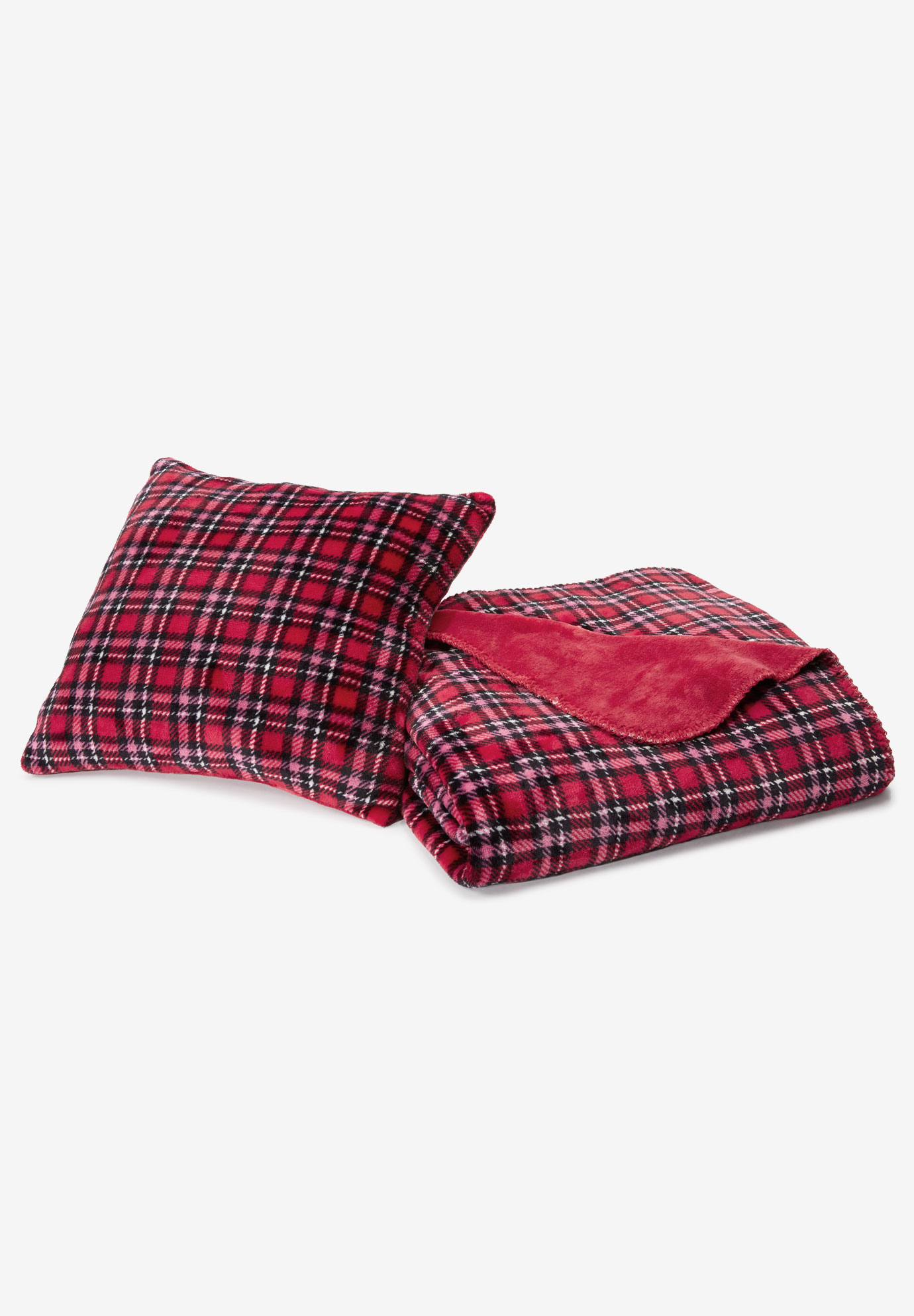 Plaid Fleece Pillow & Throw Set, CLASSIC RED PLAID