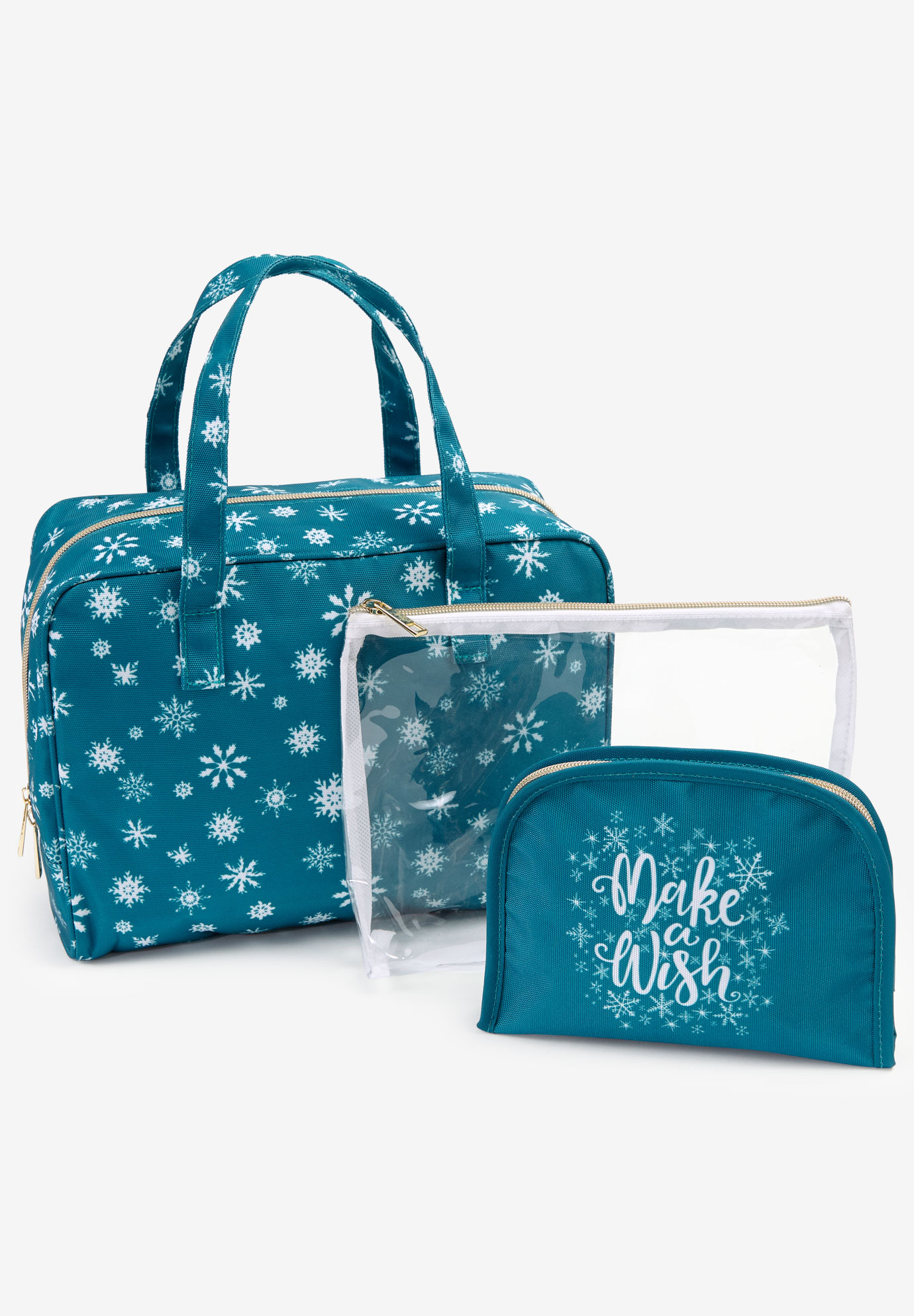 3-Piece Travel Set, DEEP TEAL SNOWFLAKES