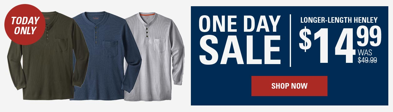 One Day Sale: Longer-Length Henley from $14.99