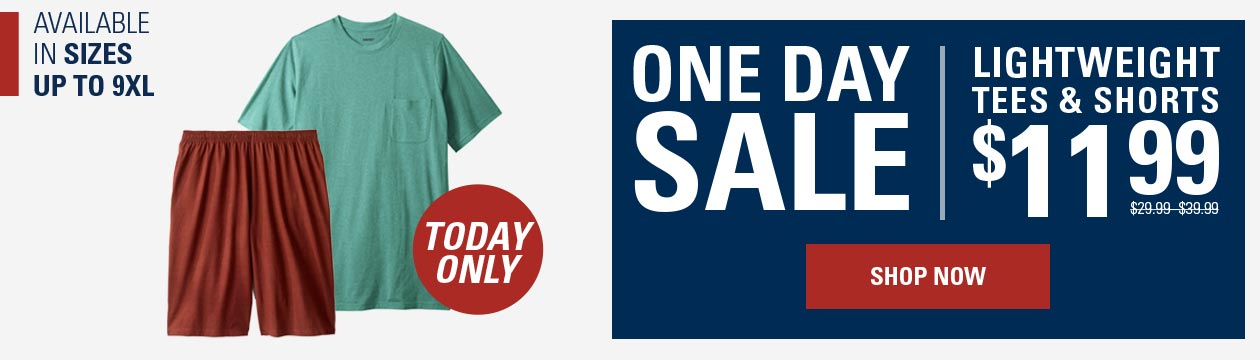 One Day Sale: Lightweight Tee and Short from $12.99