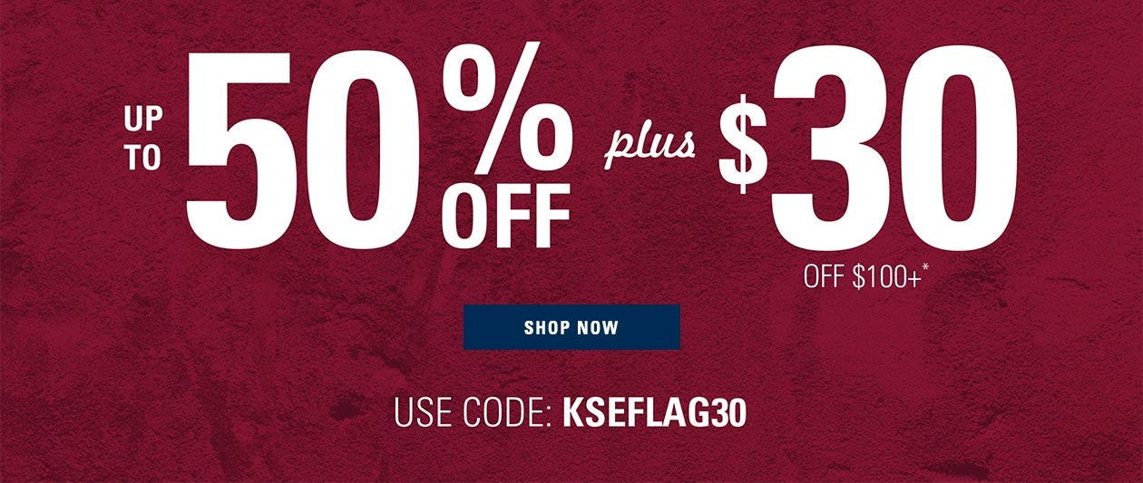 Flag and Anthem now in extended sizes up to 50% off plus $30 off $100+ with code KSEFLAG30